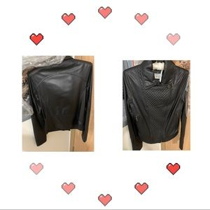 Chanel Leather quilted lambskin jacket coat 94305